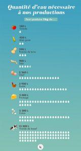 Infographie - quels besoins en eau des cultures : coton, viande, céréales, etc.